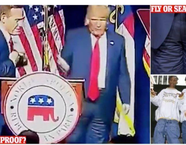 """بالفيديو  ..  شبهوه بثنائي الهيب هوب  ..  """"ترامب"""" يثير الجدل من جديد بعد ارتدائه """"بنطال"""" بالمقلوب"""