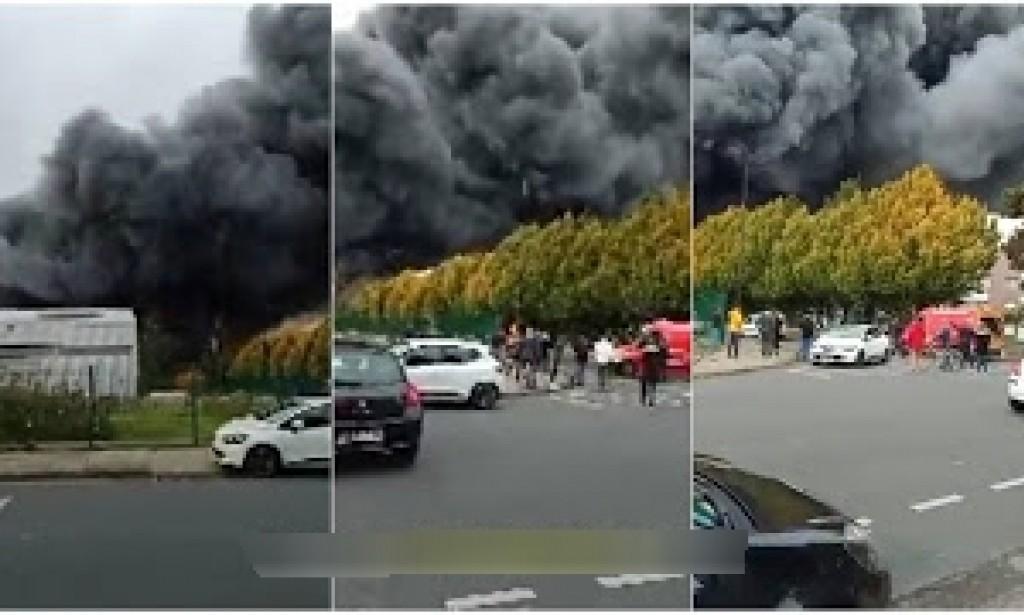 بالفيديو  ..  حريق ضخم بمصنع شاي ليبتون في لوهافر الفرنسية