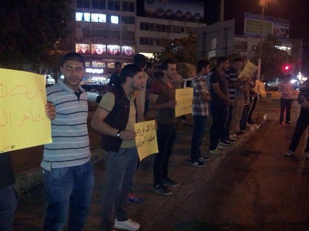 بالصور : مسيرة في مخيم الحسين تطالب بالافراج عن معتقلي الأخوان بكر وعواد