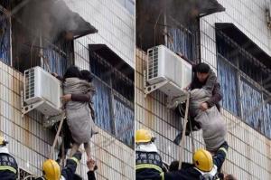 مشلول يتسلق مبنى محترق لإنقاذ امرأة -فيديو