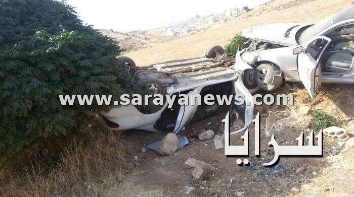 بالصور.. اصابة 7 اشخاص بحادث تصادم 3 مركبات بالقرب من مستشفى الملكة علياء في عمان