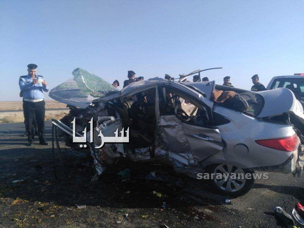 وفاة ٣ اشخاص بحادث تصادم مروع في معان  .. صور