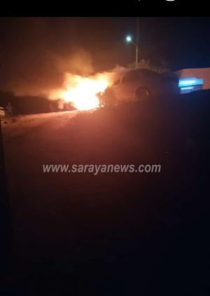 بالصور  ..  مجهولون يقدمون على حرق مركبتين في اربد  ..  والأمن يحقق