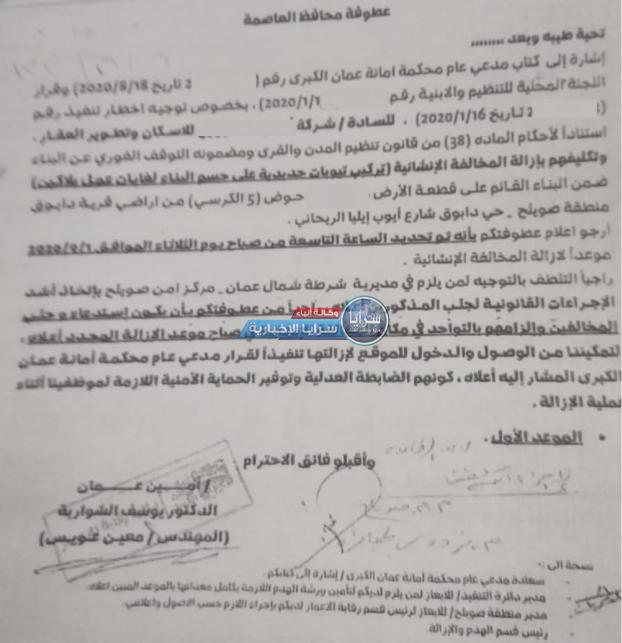 """الحلقة الأولى  ..  هل """"يتستر"""" أمين عمان على """"مخالفات صارخة"""" لأحد """"مشاريع الإسكانات"""" في دابوق؟  ..  صور و وثيقة"""