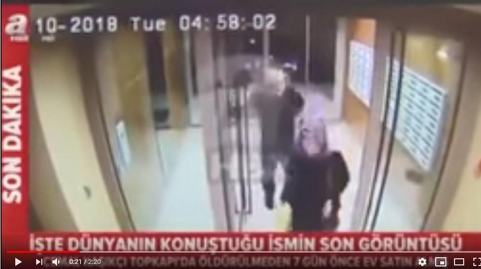 """بالفيديو  ..  آخر ظهور للصحافي """"خاشقجي"""" برفقة خطيبته قبل اختفاءه بساعات"""