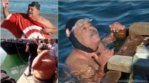 سباح تونسي يدخل العالمية بسحب سفينة تزن 22 طناً