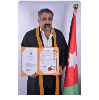 جامعة سمارت الانجليزية تمنح درجة ( البروفسور ) للدكتور حسين العدوان