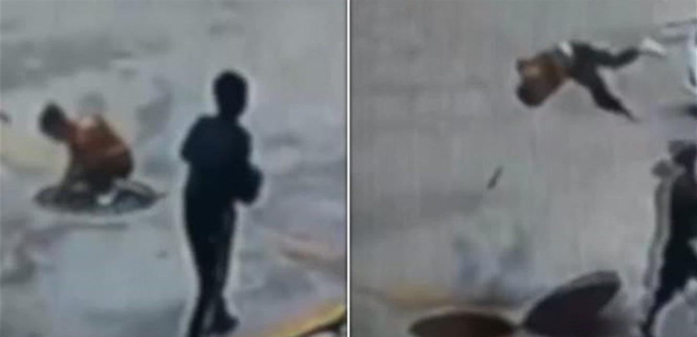شاهد بالفيديو  ..  طفل يتسبّب بانفجار ..  ويطير في الهواء!