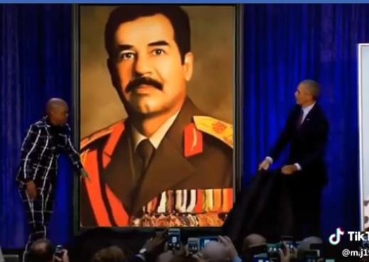 بالفيديو  ..  قصة الفيديو الذي ظهر فيه الرئيس الامريكي السابق اوباما وهو يزيح الستار عن لوحة لصدام حسين