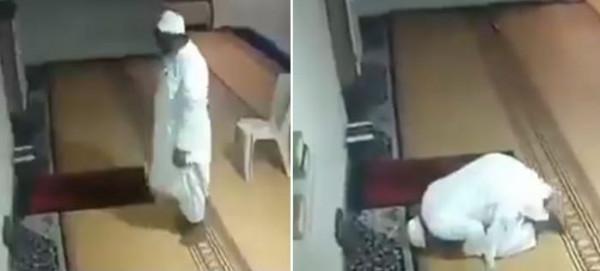 بالفيديو : رجل يصارع سكرات الموت وهو يصلي بمفرده داخل مسجد