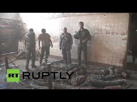 """بالفيديو من سورية.. جثث مسلحي """"اجناد الشام"""" تتراكم في دمشق"""