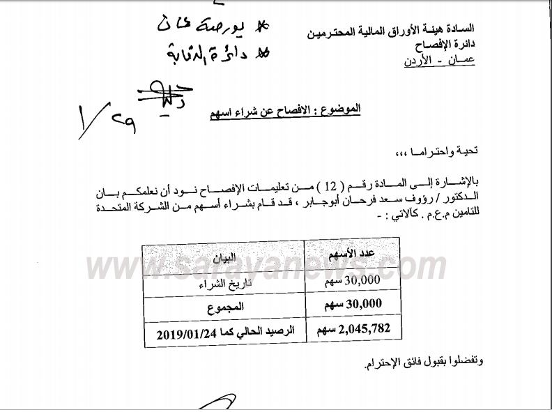 ابو جابر يشتري (30) الف سهم من المتحدة للتامين