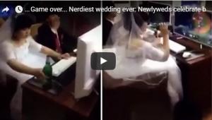 بالفيديو: عروسان يتنافسان بألعاب الفيديو ليلة الزفاف