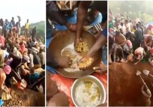 بالفيديو ..  الآلاف يبحثون عن الذهب في جبل بالكونغو