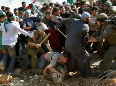 صورة لمتظاهر فلسطيني تثير جدلاً  ..  من يضرب من ؟
