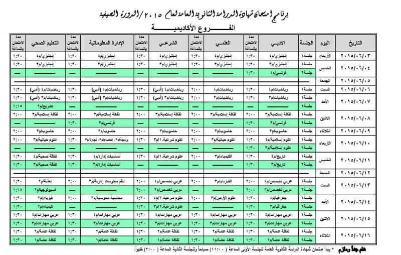 """جدول إمتحانات الثانوية العامة  """" التوجيهي """" للعام 2015 للدورة الصيفية"""