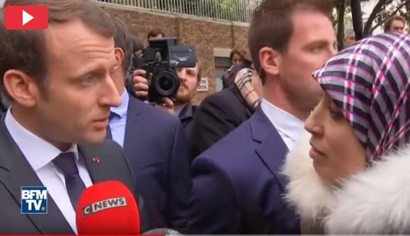 بالفيديو  ..  فتاة مغربية تتوسل بالرئيس الفرنسي ماكرون  ..  ويصعقها برد صادم