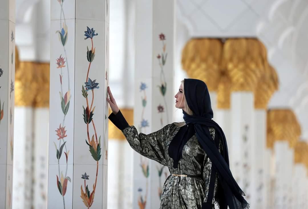 بالفيدبو  ..  إيفانكا ترامب في جامع الشيخ زايد في أبوظبي