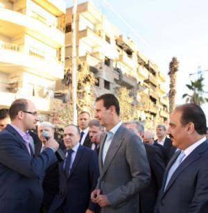 """بالصور .. الاسد من وسط مدينة الانتفاضة """"داريا"""" مصممون على استعادة كل سورية"""