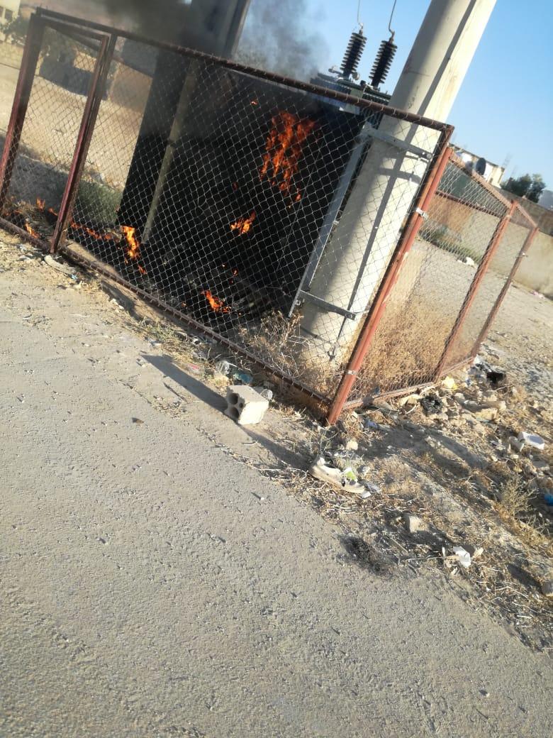 بالصور  ..   انفجار محول كهربائي رئيسي في منطقة الجوفة بالاغوار الجنوبية