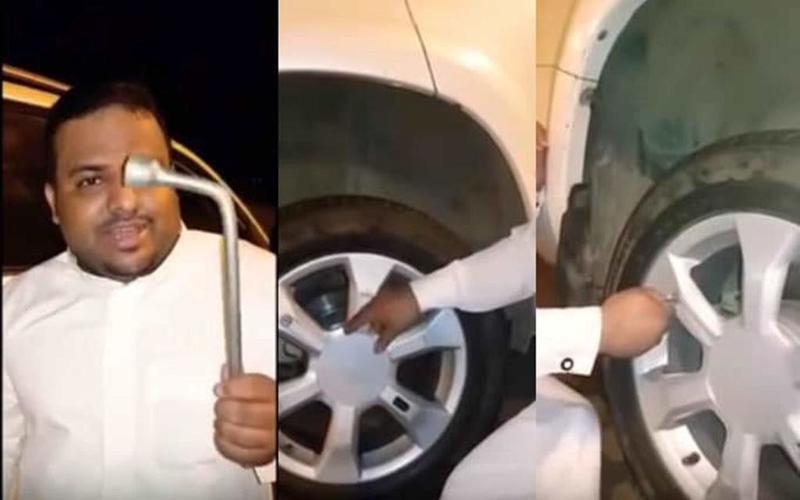 بالفيديو ..  سعودي يخترع طريقة جديدة لتغيير إطارات السيارة