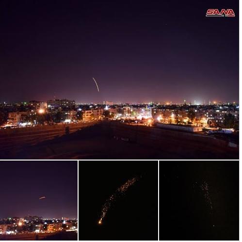 بالفيديو : اللقطات الأولى لتصدي الدفاعات الجوية السورية للصواريخ الإسرائيلية
