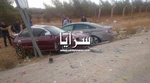 بالصور ..  إصابة ثلاثة أشخاص اثر حادث تصادم بين (7) مركبات بالقرب من جامعة العلوم والتكنولوجيا