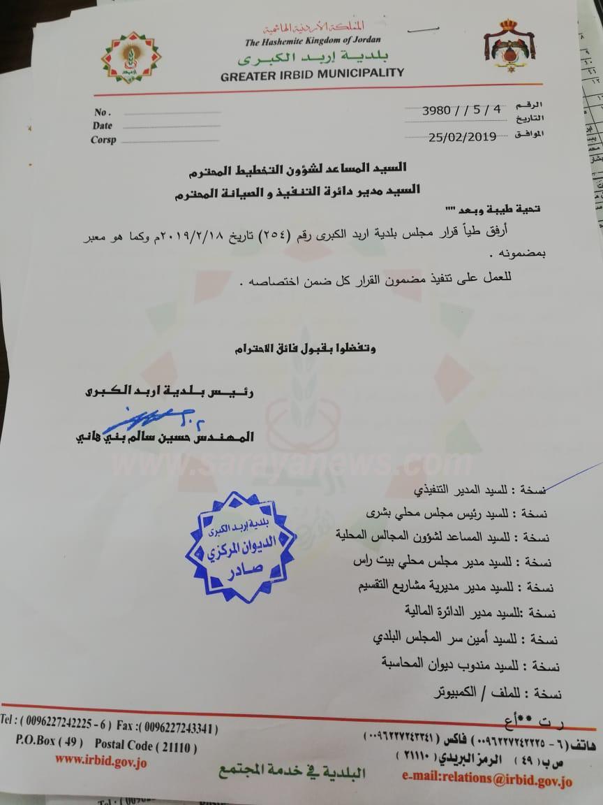 بالوثائق ..  مواطنون لسرايا: اربد الكبرى خالفت القانون بتحويل قطعة أرض من خدمات إلى مقبرة