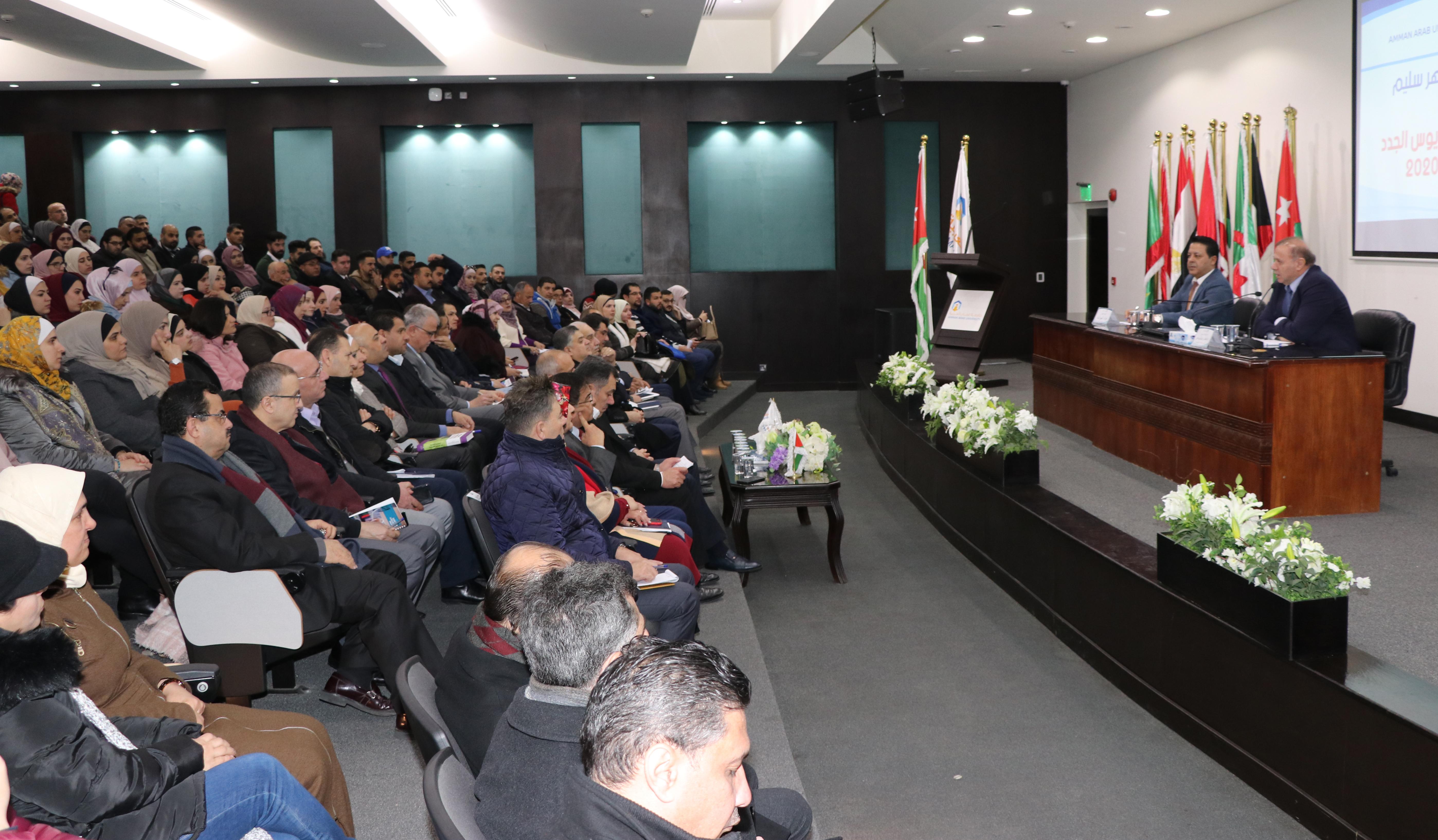"""رئيس """"عمان العربية """" يلتقي طلبة الماجستير والبكالوريوس الجدد"""