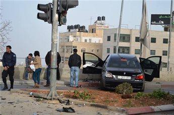 بالصور  ..  حادث سير في رام الله و اصابة 7 مواطنين