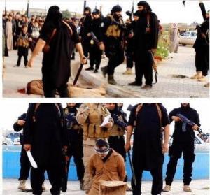 """بالصور : داعش يرجم رجلاً وامرأة بتهمة """"الزنا"""" ويقطع رأس مشعوذ"""