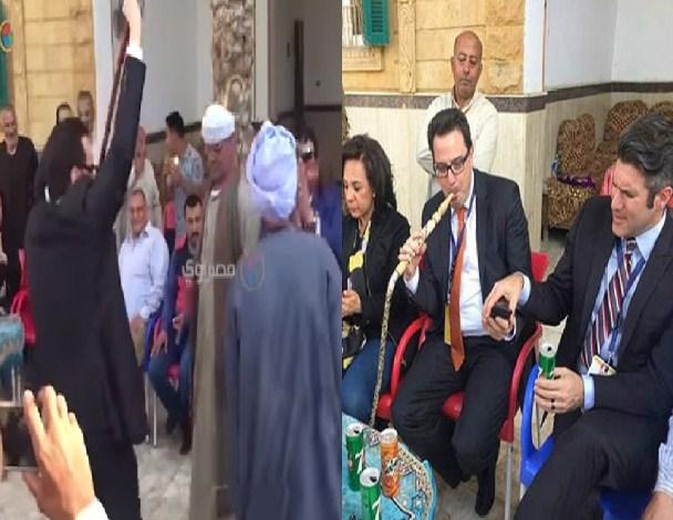 """بالفيديو و الصور  ..  وفد الكونغرس الامريكي لمراقبة انتخابات مصر : رقص و شيشة و """"فطير مشلتت"""""""