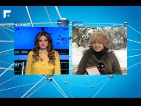 شاهد.. مراسلة تلفزيون لبناني تتجمد على الهواء من الصقيع