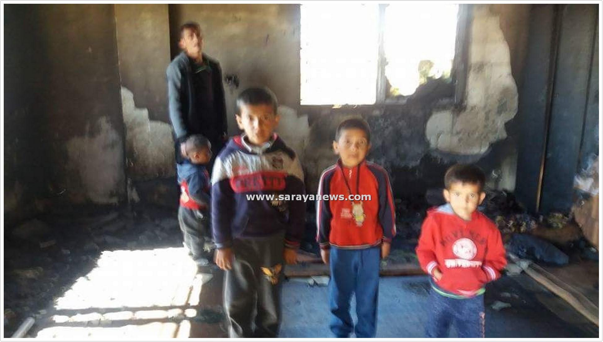 بالصور  ..  حريق يلتهم منزل عامل وطن في الزرقاء : اصبح هو و اطفاله بلا مأوى و ينامون في العراء