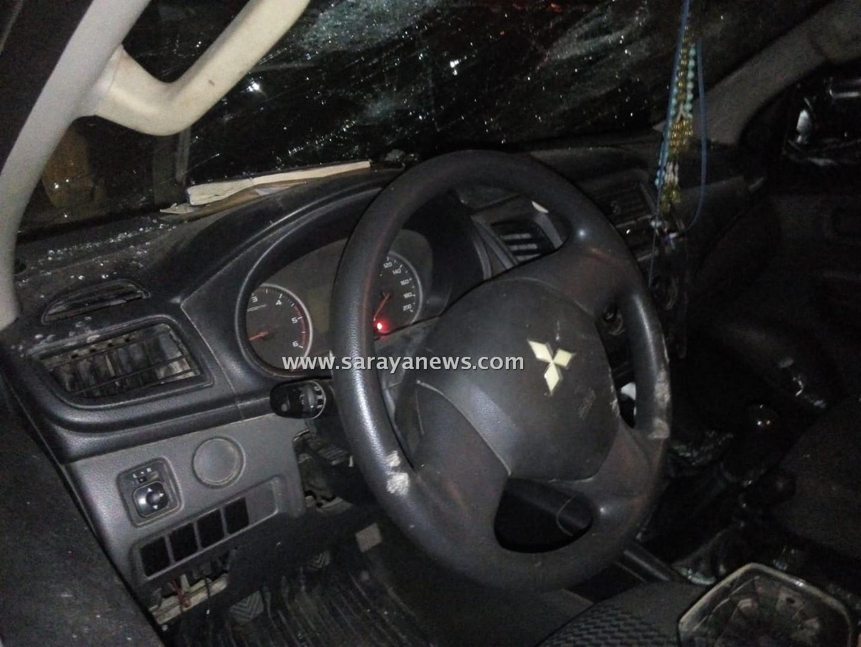 بالصور  ..  مجهولون يحطمون مركبة تابعة لوزارة الاشغال على الطريق الصحراوي