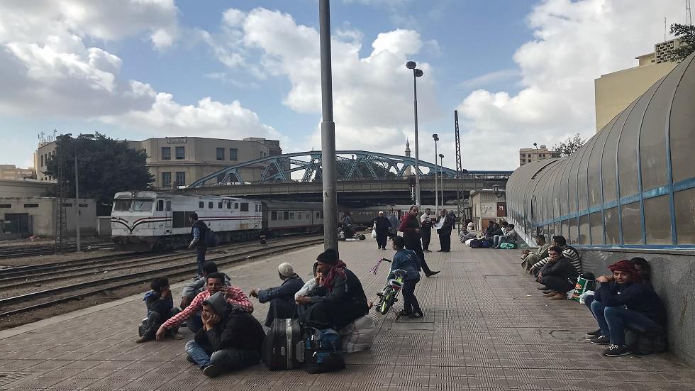 اللحظات الأولى لانحراف القطار في كفر الشيخ شمال مصر