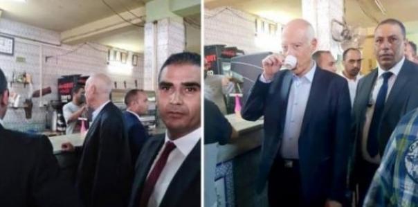 صور الرئيس التونسي يحتسي القهوة وسط الشعب تثير الإعجاب