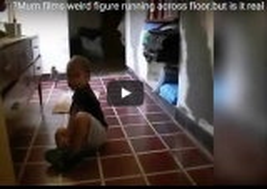 بالفيديو : كائن غريب يطارد طفل والأم توثق المشهد