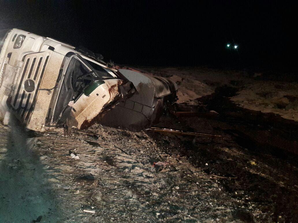 بالصور ..  مادبا: وفاة ثلاثيني بحادث انقلاب صهريج نفط في منطقة الزميلة