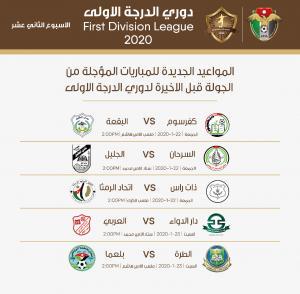 تأجيل المباريات المتبقية من دوري الدرجة الأولى بسبب الأحوال الجوية