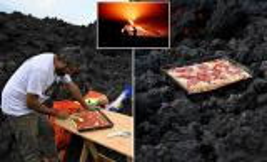 فيديو غريب ..  بيتزا على فوهة بركان ثائر في غواتيمالا