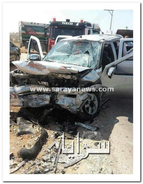 بالصور ..  وفاة طفل و اصابة 5 آخرين بحادث تصادم على طريق الرمثا