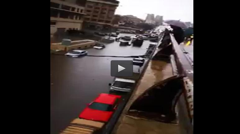 بالفيديو :بيروت تغرق بمياه الأمطار