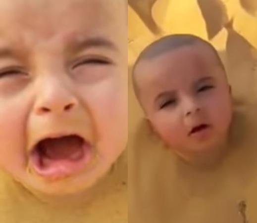 سعودي يدفن طفله الرضيع في الرمال غير آبه لصراخه!