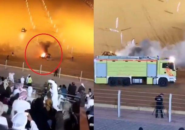 """بالفيديو  ..  مشاهد تحبس الانفاس حادث """"تفحيط"""" مرعب في الإمارات!"""