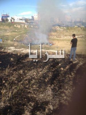 بالصور .. حريق كبير مقابل حراج طبربور