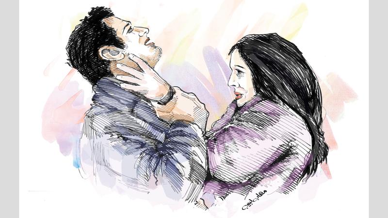امرأة تضرب زوجها ويتصالحان في المحكمة