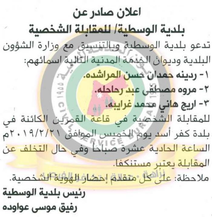 اسماء الناجحين في الامتحان التنافسي التحريري الذي تم عقده بتاريخ 22-1-2019