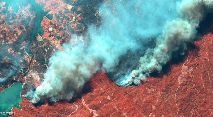 صور مرعبة رصدتها الأقمار الصناعية لحرائق تركيا