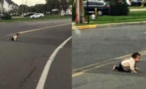 بالفيديو :طفلة بعمر الـ10 أشهر تعبر الشارع لوحدها
